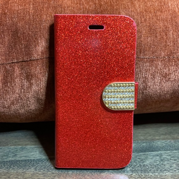 iPhone 6 Glitter Red Wallet Case